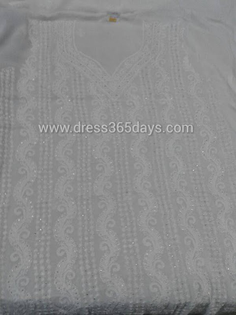 Mukesh work with Badla Chikankari embroidery