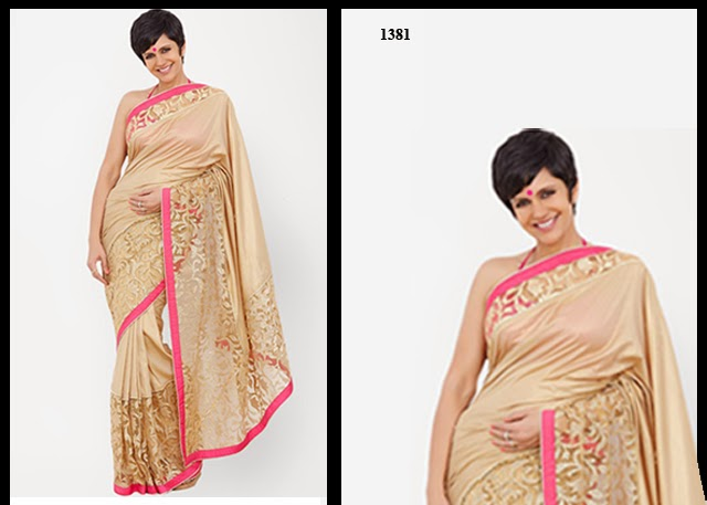 1381 - Mandira Bedi In cream Designer Saree