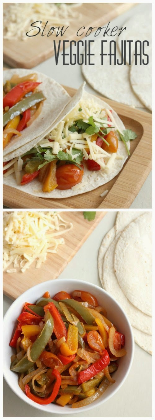Slow Cooker Veggie Fajitas from Amuse Your Bouche featured on SlowCookerFromScratch.com