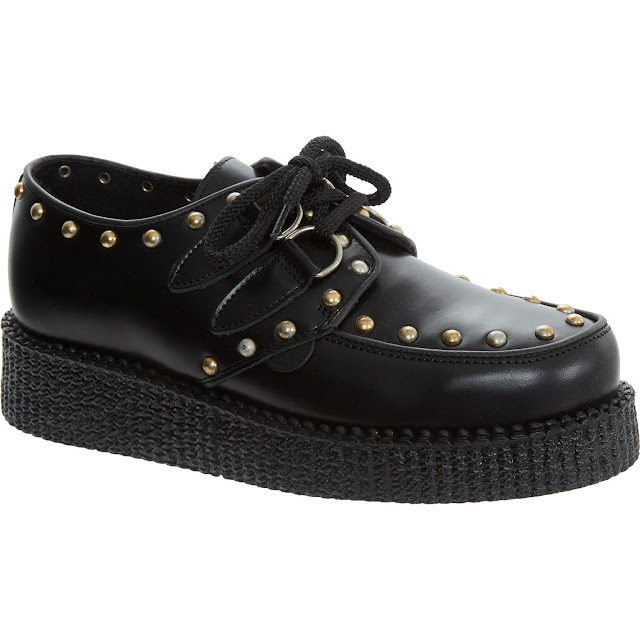 underground black studded leather creepers
