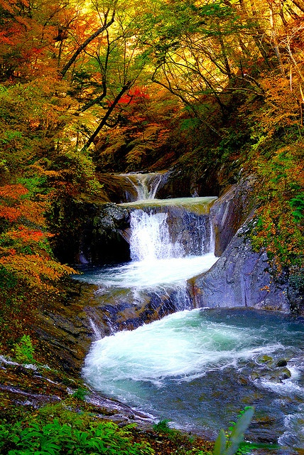 Autumn of waterfall