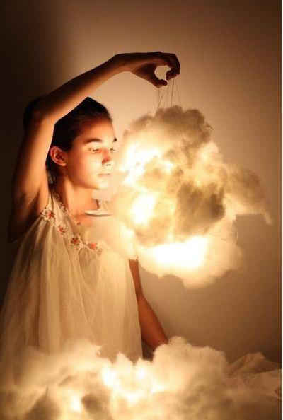 Luminária nuvem de algodão