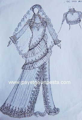 Sketsa model Baju Pengantin Muslim semi dress by adhina