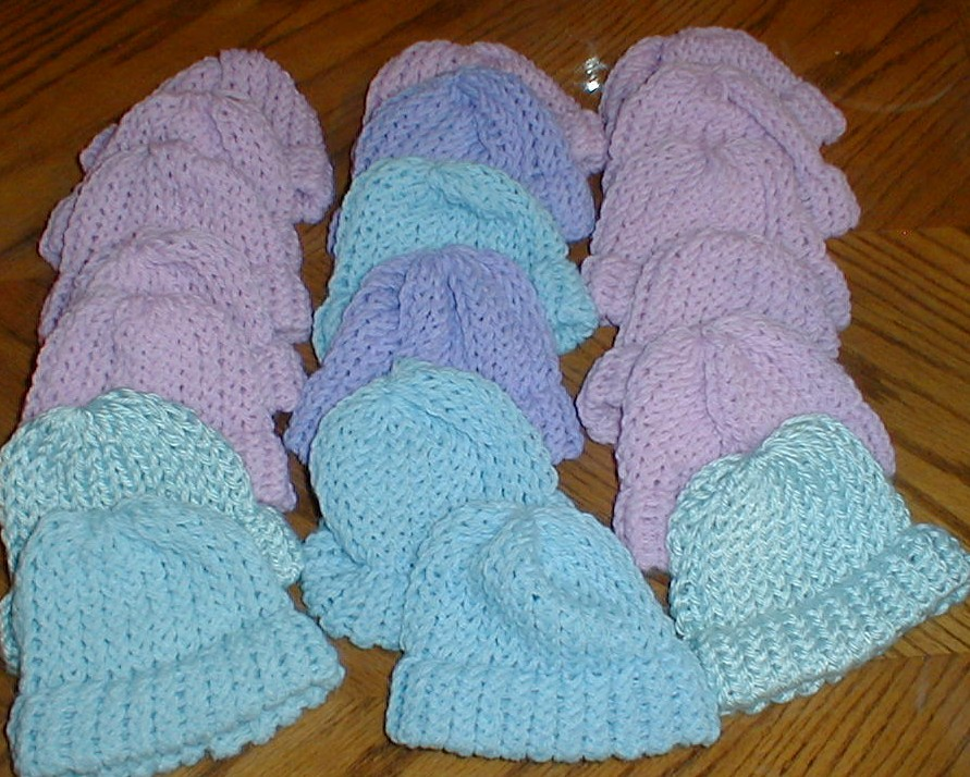 Loom Knitting Baby Hat : Karens crocheted garden of colors loom knitted baby hats