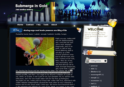 sumerge in gold free blogger template
