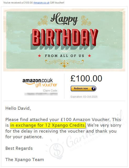Voucher Amazon Xpango prize prémio ganhei win freebie