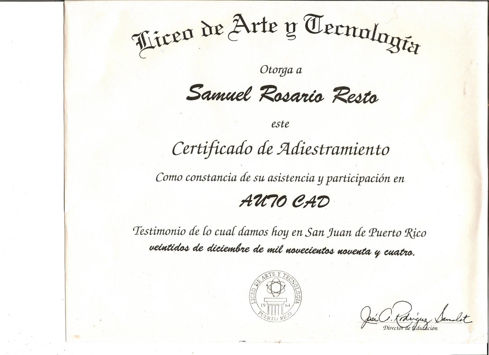 Samuel Rosario Portfolio Autocad Certification