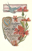 antique valentine postcard post card with heart, bird and flowers