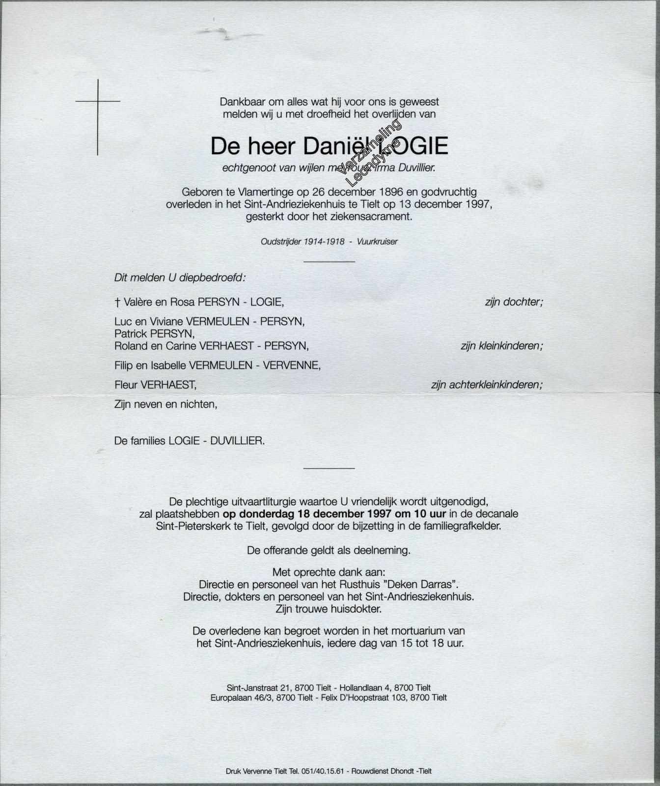 Rouwbrief Daniël Logie 1896-1997. Verzameling Leondyme