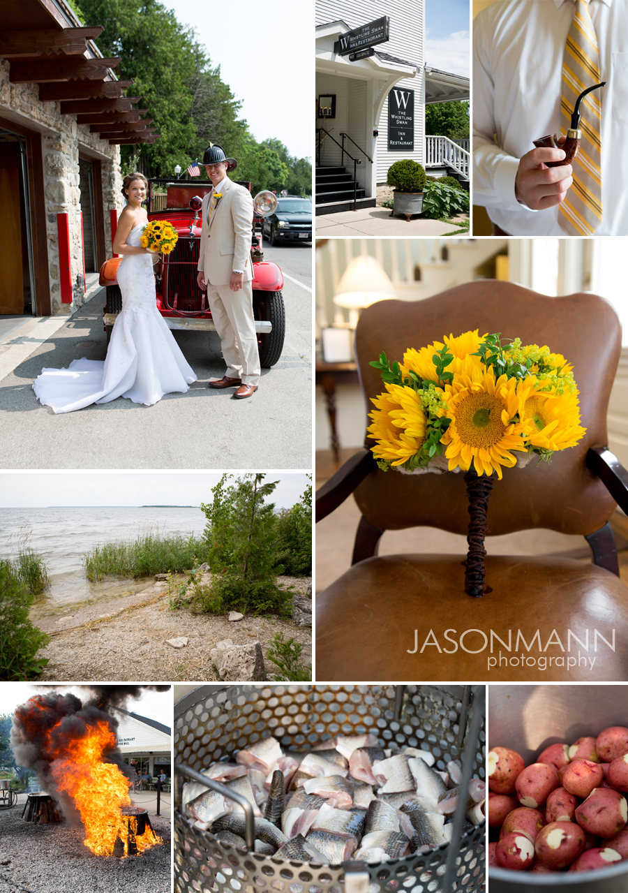 Marsala in the Fall featuring a Door County wedding with sunflowers and a fish boil. Photos by Jason Mann Photography.