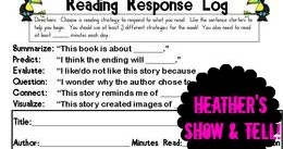 Heather's Show and Tell: Guide to Nightly Reading Response Log FREEBIE