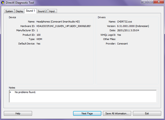 DirectX Diagnostic Tools (dxdiag)