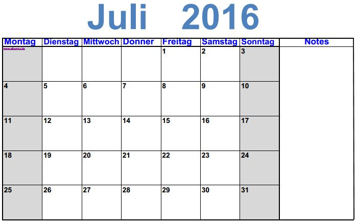 kalender juli 2016 zum ausdrucken 2016 blank calendar calendar en www albumi c la. Black Bedroom Furniture Sets. Home Design Ideas