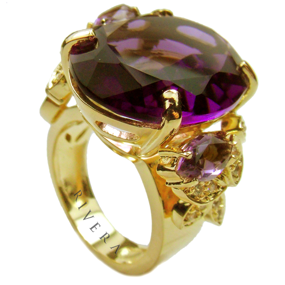 anel de pedra lilás ametista semijoia