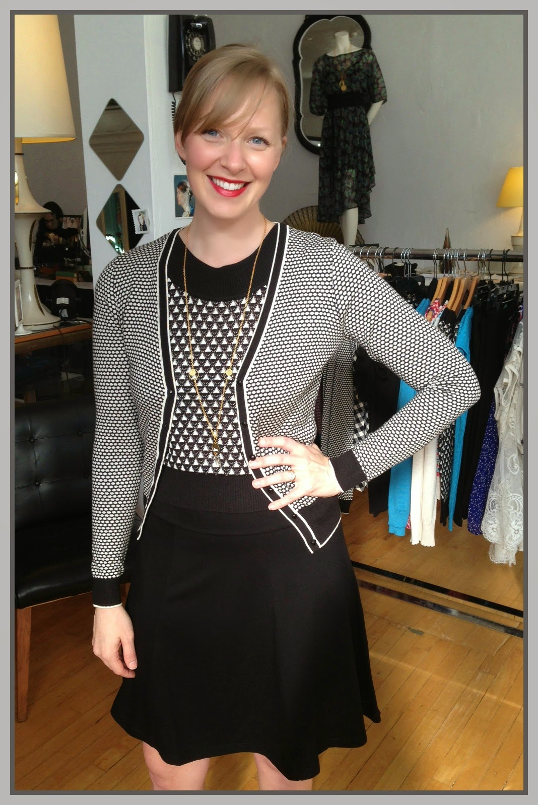 Louie et Lucie jewel boatneck top ($84), beehive v-neck cardigan ($88), wide patch skirt ($68), necklace ($34) by Nicole Weldon Jewelry at Folly