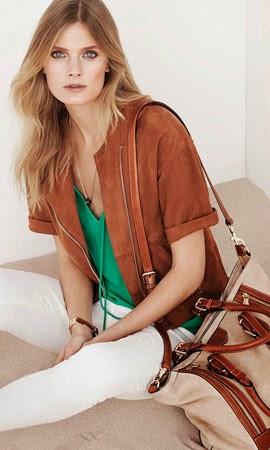 Massimo Dutti mulher primavera verão 2014 capa de camurça calça lisa mala