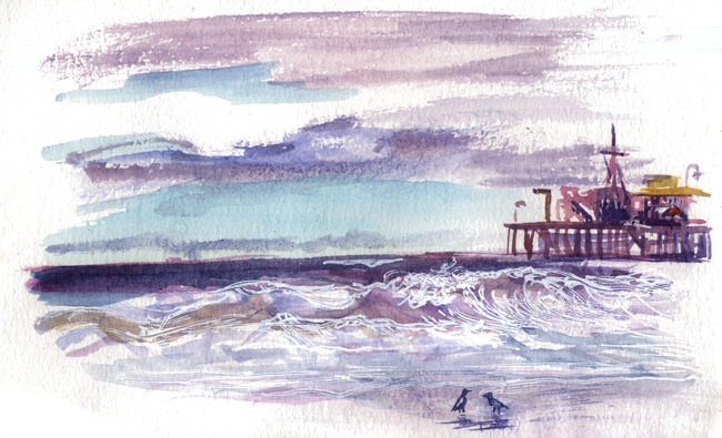 "shiho nakaza watercolor sketching ""Los Angeles"" ""Santa Monica"" California winter rain beach"