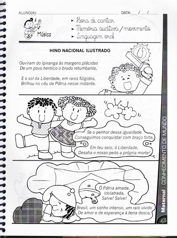 Conhecido DIA DO HINO NACIONAL - 40 ATIVIDADES EXERCÍCIOS DESENHOS PARA  HZ08