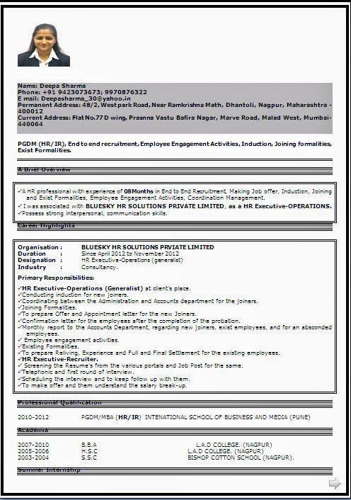 Resume Samples In India Pdf