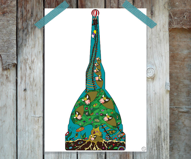 Digital folk illustration with bucolic landscape into Mole Antonelliana frame by Barbara Bisarello on Cocode Market & Studio