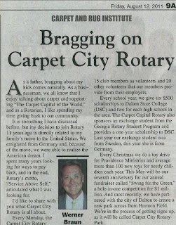 Bragging on Carpet City Rotary by Werner Braun