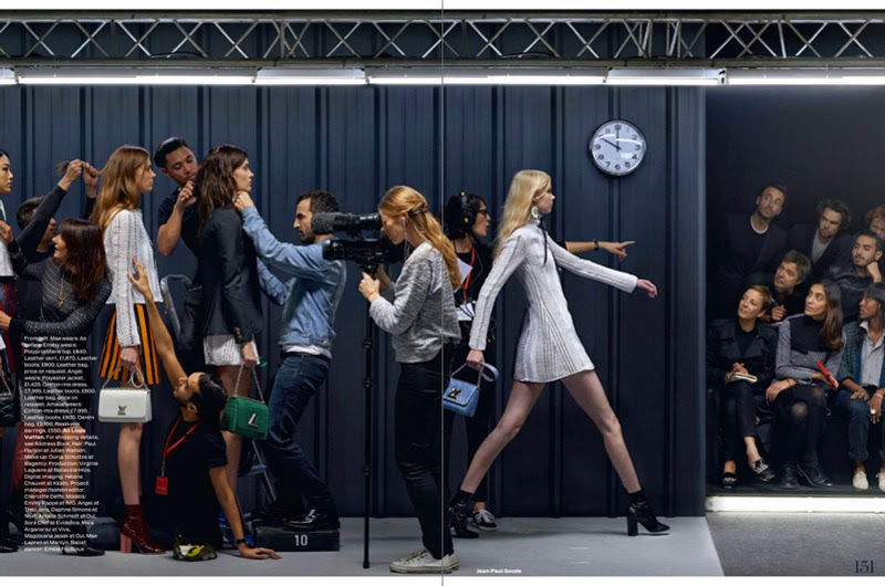 Elle UK editorial showing Louis Vuitton backstage for fall winter 2016 with Nicholas Ghesquiere