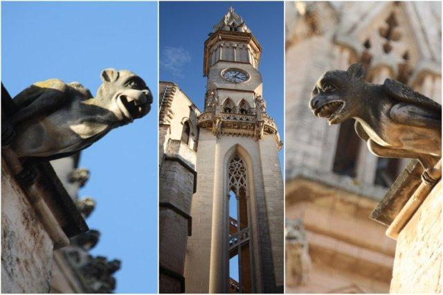 Gargolas y Torre Rubi en la Iglesia de Nuestra Senora de los Dolores en Manacor, Mallorca