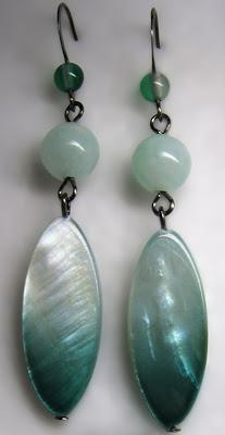 Серьги перламутр натуральный камень Earrings Forestbrook gemstones Ro-Ksana.blogspot.com бисероплетение украшения бисера натуральными камнями хендмейд бижутерия подарки женщине