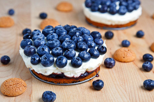 Blueberry Mascarpone Cheesecake with Amaretti Crust