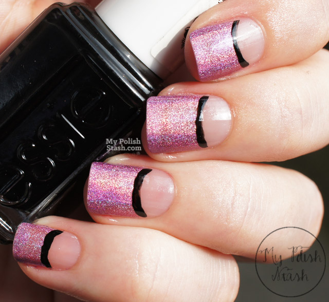 negative space half moon nail design