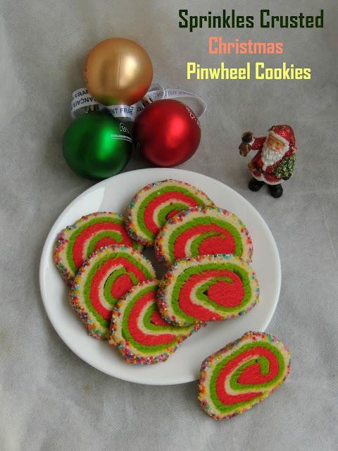 Sprinkles Crusted Christmas Pinwheel Cookies