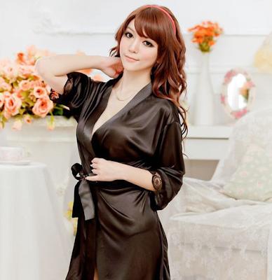 Desain Kimono Tidur Wanita Warna Hitam Terbaru 2015