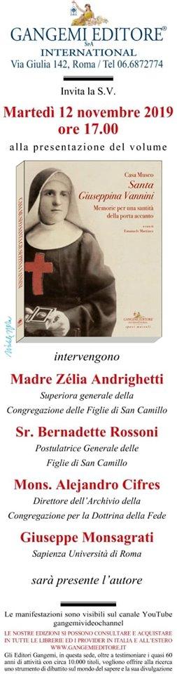 Presentazione del Libro Casa Museo Santa Giuseppina Vannini