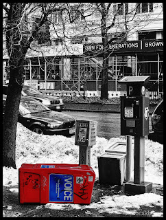 Free newspaper boxes and snow in New York City