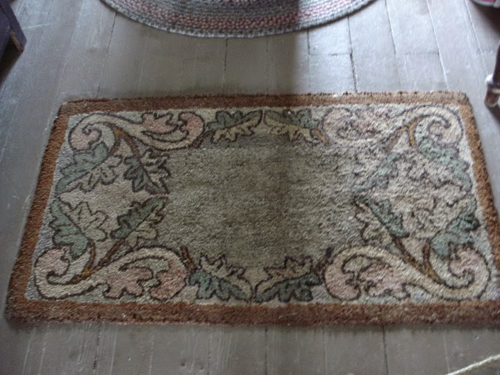 Hooked rug in second floor bedroom of Keen Hotel, Lang Pioneer Village, (living Museum site)  Keen ON, Canada
