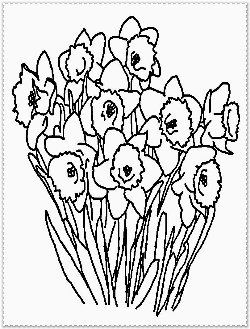 Spring Flower Coloring Page Realistic Coloring Pages