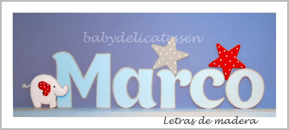 BABY DELICATESSEN LETRAS DE MADERA: MARCO CON ELEFANTE Y ESTRELLAS