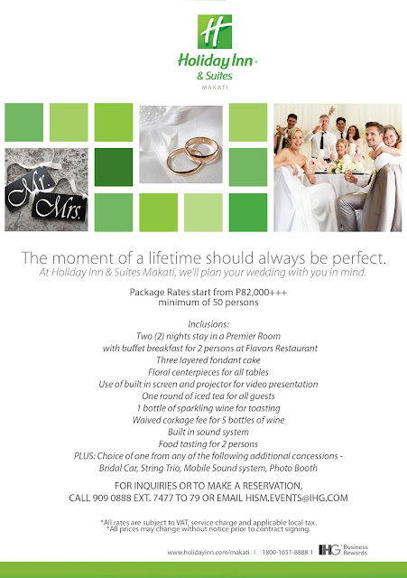 Stary relaxed. Stay saavy. Have your wedding at Holiday Inn & Suites Makati