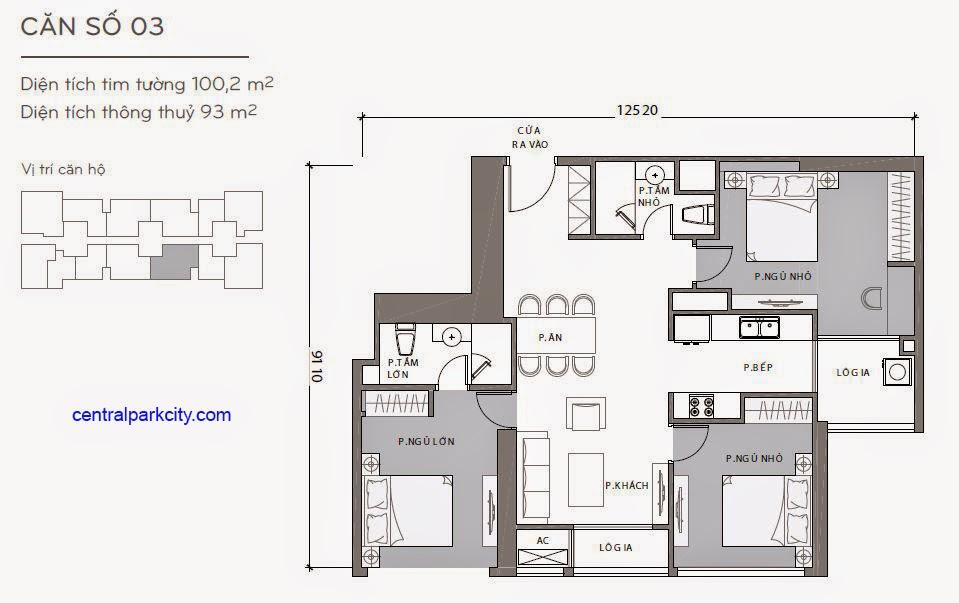 Căn hộ Landmark 2 & 3 - kiểu nhà số 03 - 100.2m2 - 3PN
