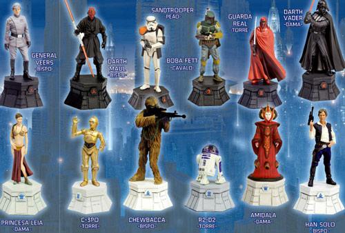 Personagens da Star Wars - Peças de xadrez em miniaturas feitas em chumbo e na proporção 1:24, pintadas a mão