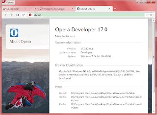 Opera Developer adalah aliran pengembang browser Opera terbaru. Ini adalah Opera untuk pengembang yang merupakan versi tepi pendarahan. Anda dapat mengharapkan banyak barang-barang mewah di sana. Namun, hal ini sangat tidak stabil dan beberapa bug jahat mungkin juga muncul dari waktu ke waktu.