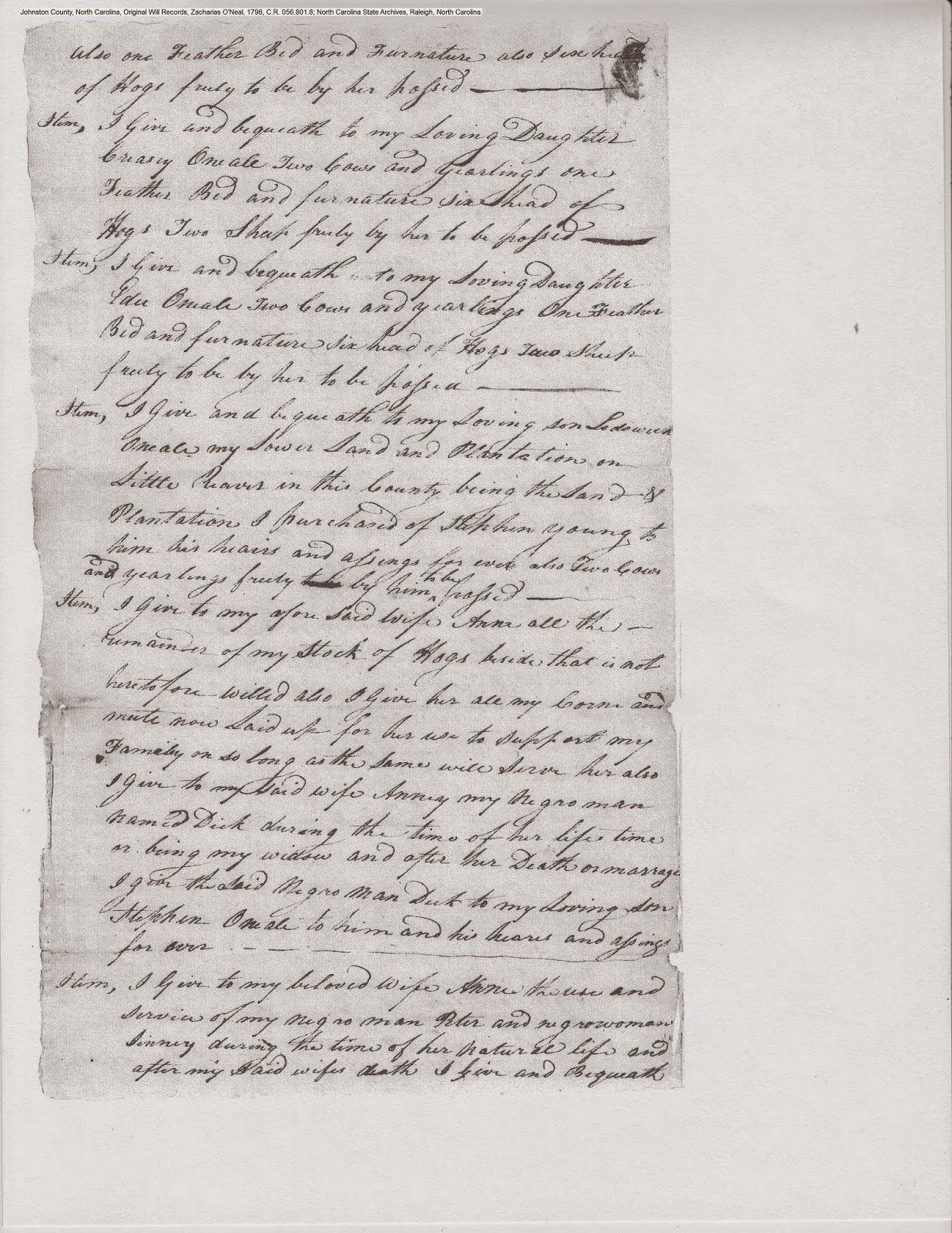 Zachariah O'Neal's will, Johnston Co., NC, 1796, p. 2