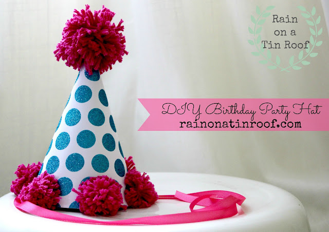 DIY Birthday Party Hat {rainonatinroof.com} #DIY #birthday #hat #party #pink #blue