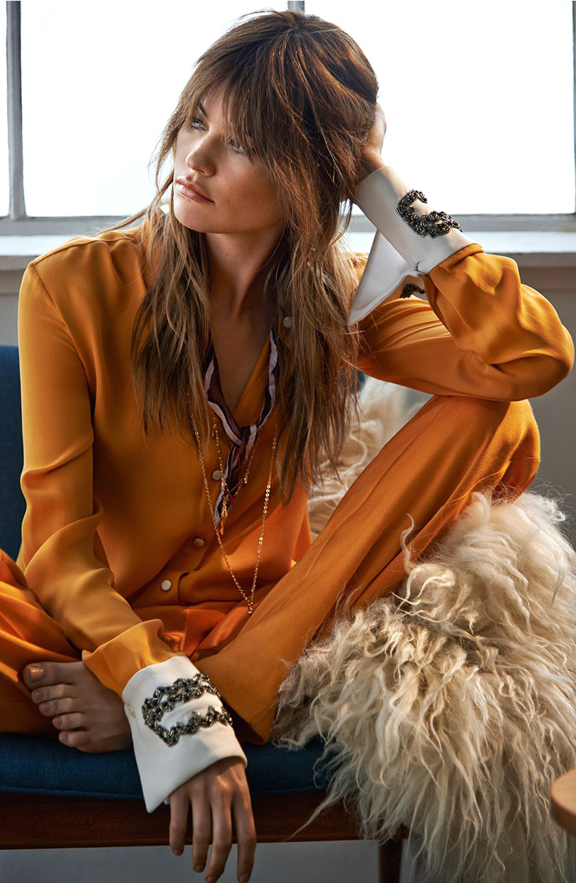 Cadmium Orange / Pantone Fall 2015 / Style inspiration, shopping, runway / Behati Prinsloo in Rock Chic / The Edit (photography: Chris Colls, styling: Maya Zepenic) via www.fashionedbylove.co.uk british fashion blog