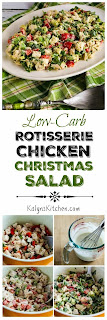Low-Carb Rotisserie Chicken Christmas Salad Recipe with Avocado, Red Pepper, and Lime [KalynsKitchen.com]