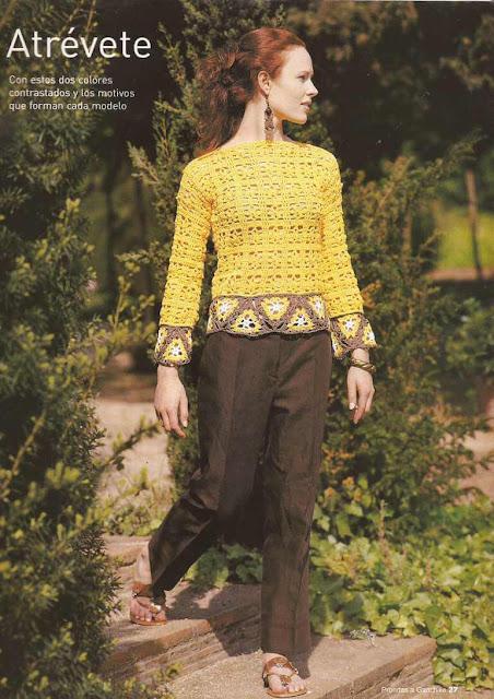 #10 Blusa con Triángulos a Crochet