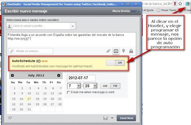 Hootsuite promgramar mensajes