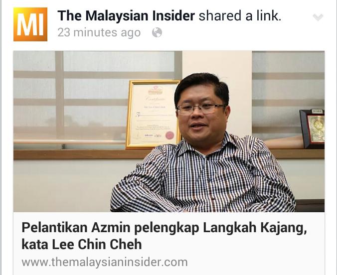 1MALAYSIA KENA TIPU Pelantikan Azmin Kemuncak Perancangan Lengkap Langkah Kajang kata Lee Chin Cheh Bekas Adun Kajang