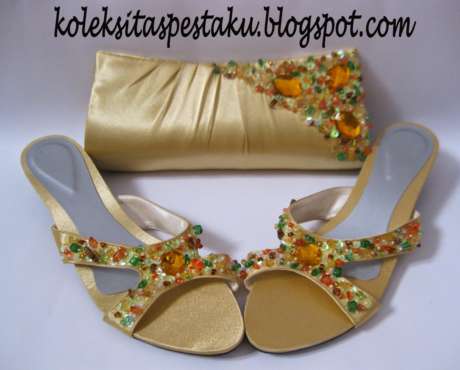 Sepaket Unik Gold Cantik Payet Tas Pesta Sepatu