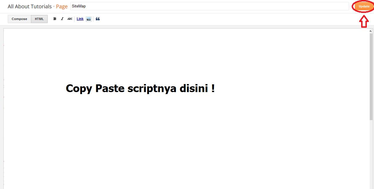 copy paste script daftar isi dihalaman blog, pilih HTML format